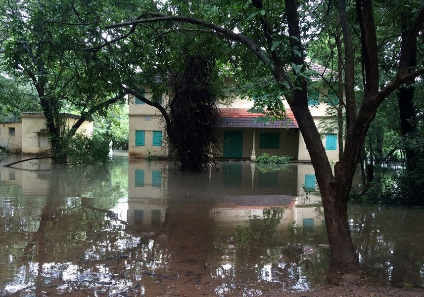 Building in floodwater